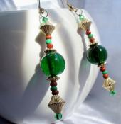 Elegant Orunmilla Inspired Earrings (Green and Brown)